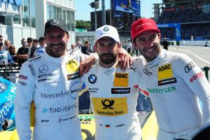 DTM zeigte große Rad an Rad Duelle - Gary Paffett P3, Timo Glock P1, Mike Rockenfeller P2 | foto: aos